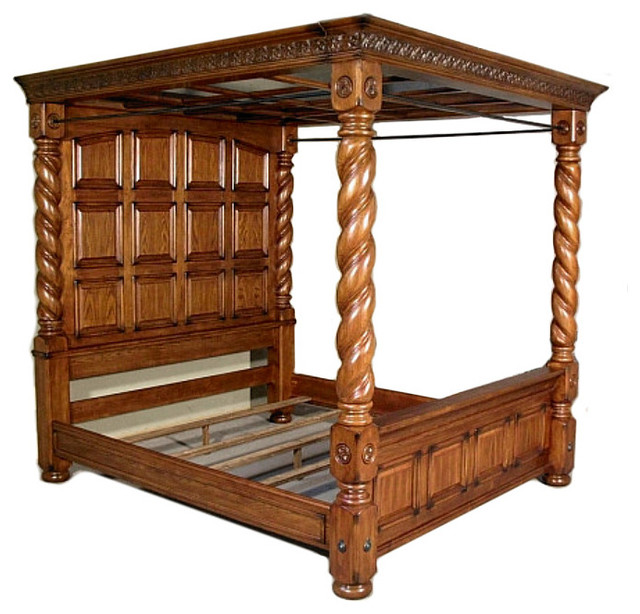 Solid Oak Aico Michael Amini Barley Twist King Size Canopy