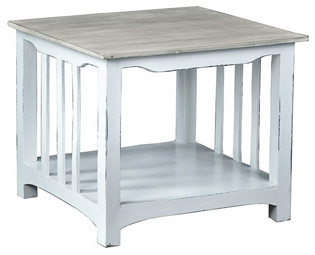 two tone end table mahogany wood construction distressed white finish