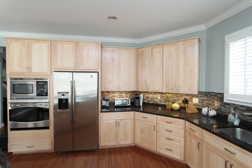 Contemporary Kitchen in Natural Maple with Black Granite ... on Natural Maple Cabinets With Black Granite Countertops  id=46218