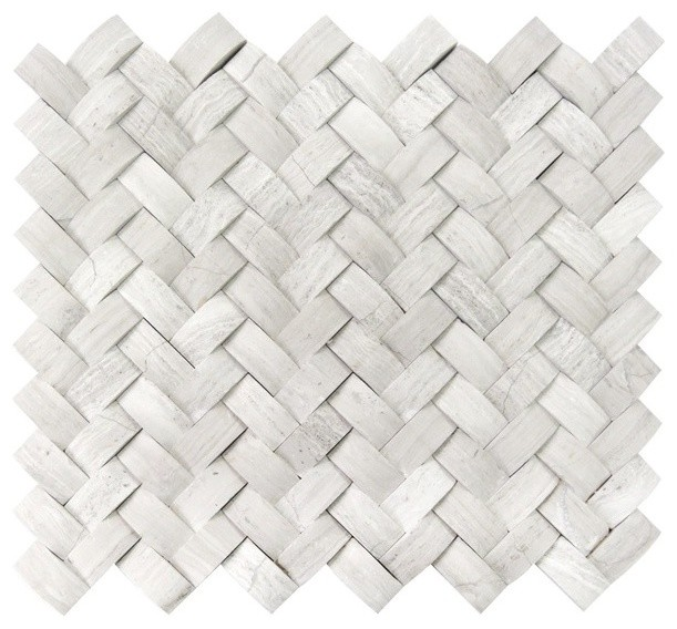 12 x12 white oak arched basketweave 3d honed mosaic