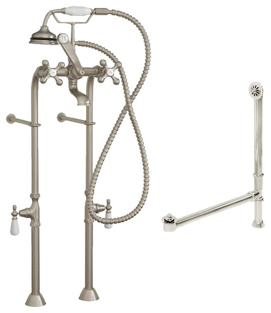 complete free standing package for clawfoot tub faucet assembly bn