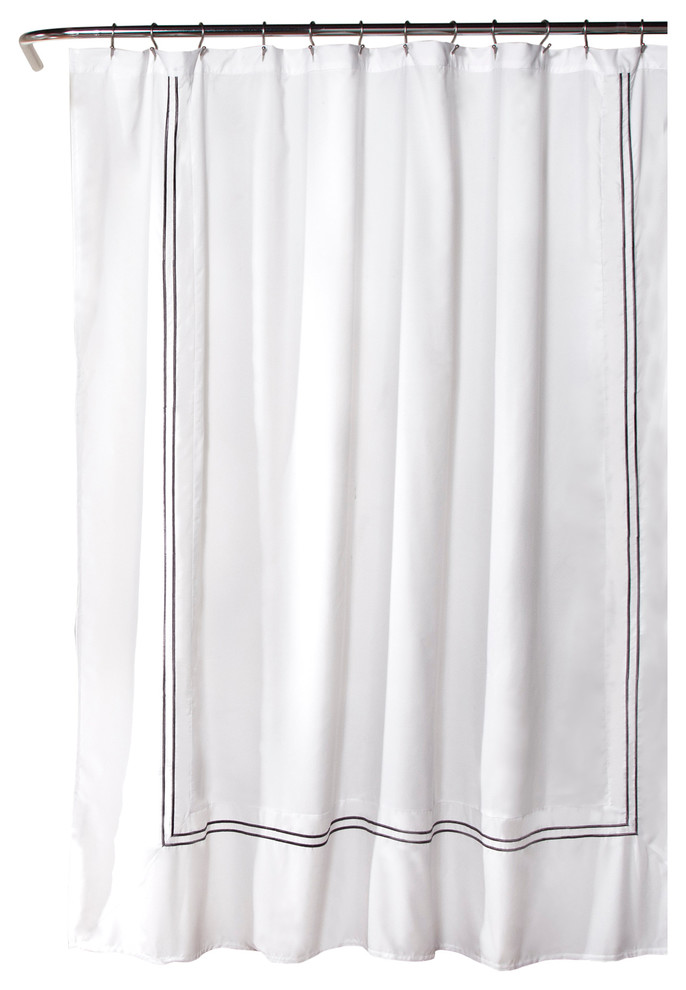 hotel collection shower curtain white gray 72x72