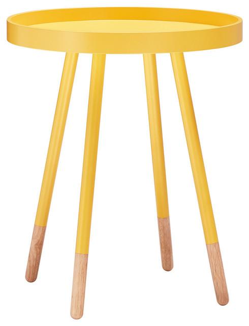 zoe retro mid century modern tray top side table yellow