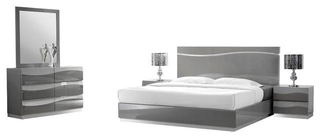 leon gray modern 5 piece bedroom set queen