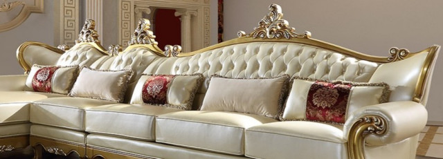 new victorian style metallic antique gold leather finish sectional sofa