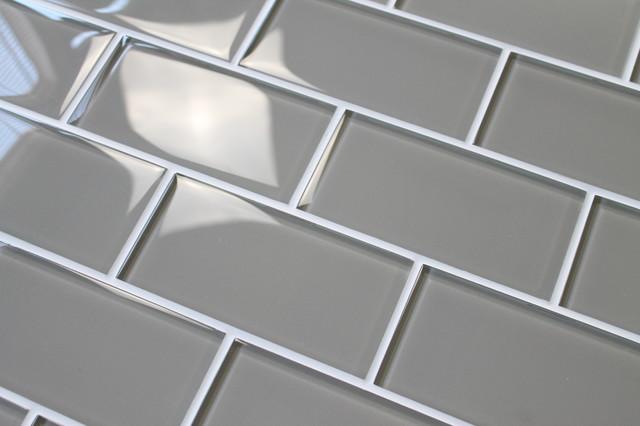 taupe 3x6 glass subway tile sample