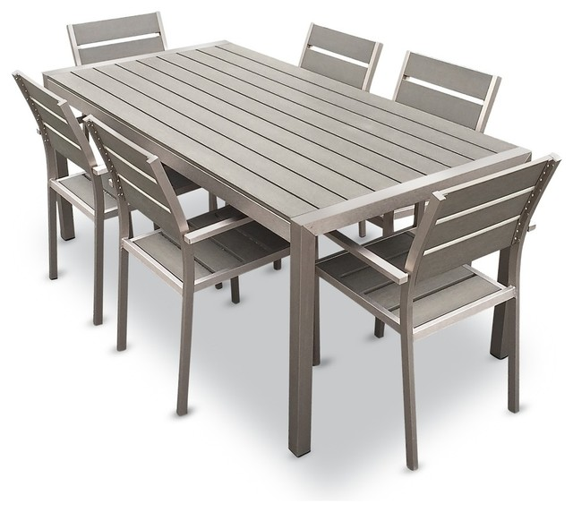 Outdoor Aluminum Resin 7 Piece Dining Table And Chairs Set Contemporary Outdoor Dining Sets By Mangohome Mes Med 7pc Houzz