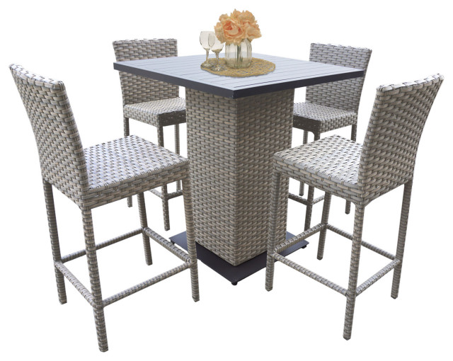 florence pub table set barstools 5 piece wicker patio furniture grey stone