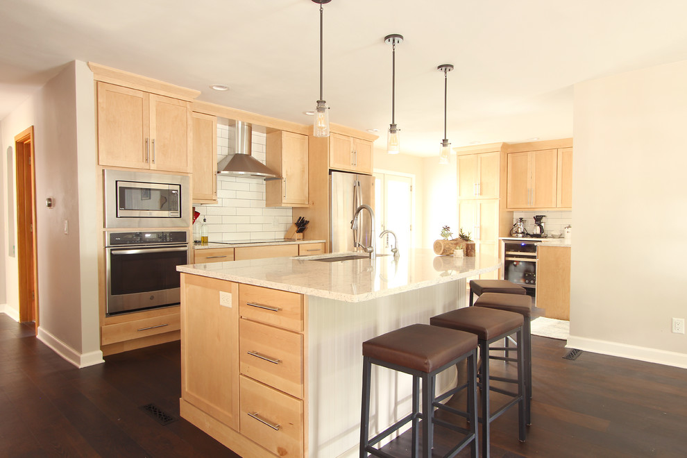 Natural Maple Cabinets in Open Kitchen with Quartz ... on Natural Maple Cabinets With Quartz Countertops  id=64008