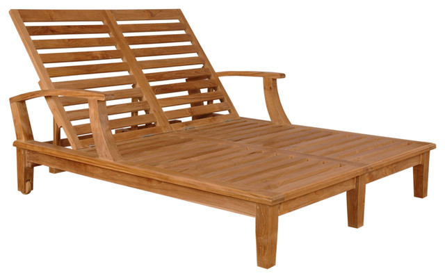brianna double wide 2 person sun lounger teak