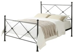 """X"" Metal Bed, Black, Queen"