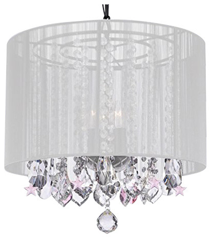 Crystal Chandelier Chandeliers With Large White Shade And Pink Stars Contemporary