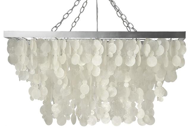 Rectangular Rain Drop Capiz Chandelier Natural White Beach Style Pendant Lighting