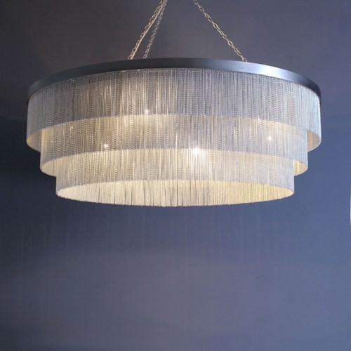 Silver Chain Shallow Chandelier Contemporary Chandeliers