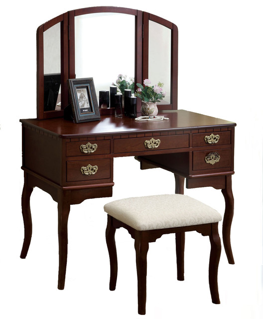 Adarn Inc - 5-Drawer Make-Up Vanity, Tri-Folding Mirror ... on Makeup Bedroom  id=63623