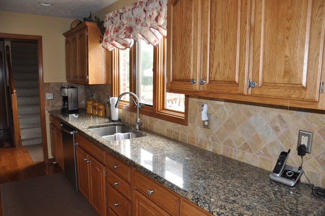 Granite Countertops and Tile Backsplash Ideas - Eclectic ... on Countertops Backsplash Ideas  id=31002