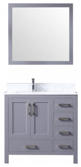 36 inch modern dark gray bathroom vanity left side offset sink white marble