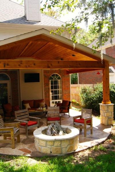 custom outdoor patio design Fire Features by Texas Custom Patios - Traditional - Patio