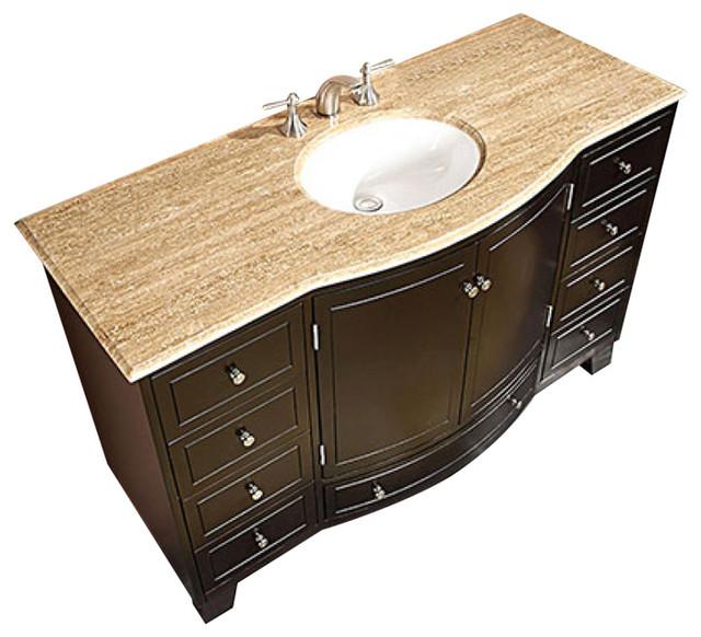 55 inch large espresso bathroom vanity single sink travertine or marble trave