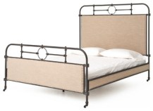 Henley Linen Antique Iron Industrial Rustic Queen Bed
