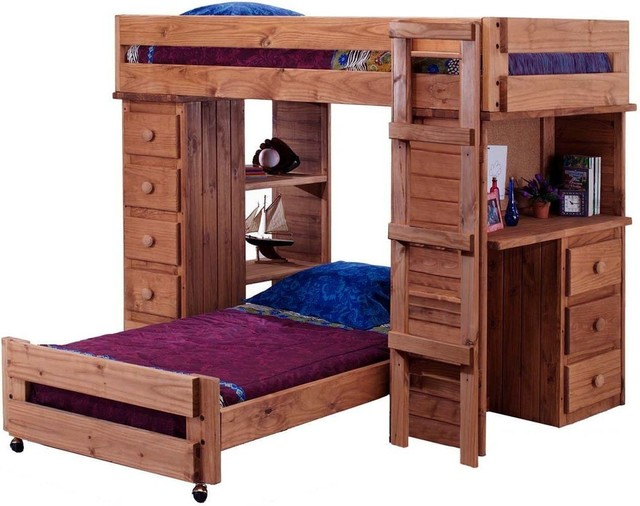 twin over twin student loft bed with desk and chest end mahogany stain