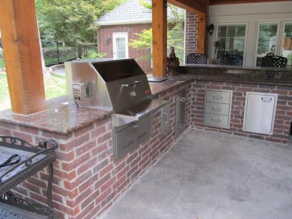 brick patio with outdoor kitchen Red Brick Outdoor Kitchen