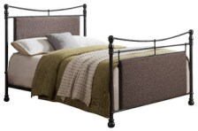 Warren Upholstered Metal Bed, Pewter and Brown, King