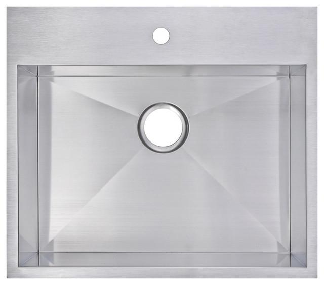 25 x 22 zero radius single bowl stainless steel drop in kitchen sink