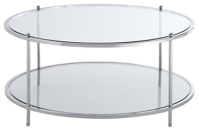 convenience concepts royal crest round glass coffee table in chrome metal frame