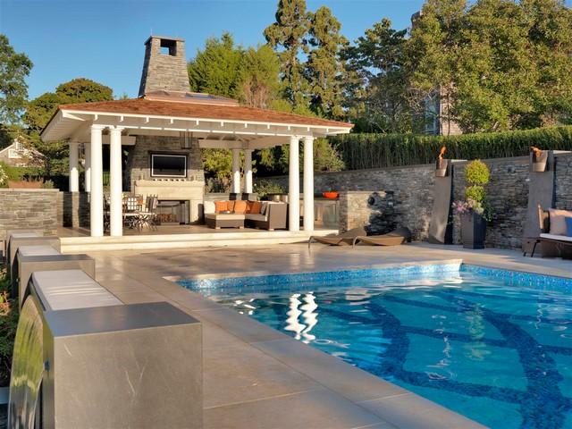 Rhode Island Backyard Pool Deck - Contemporary - Patio ... on Pool Deck Patio Ideas id=35481