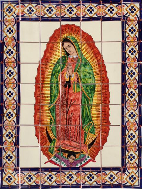 our lady virgen de guadalupe clay talavera tile mural