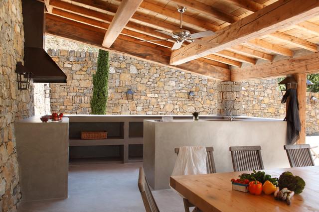 Cuisine d'extérieur en béton ciré contemporain-terrasse-et-patio