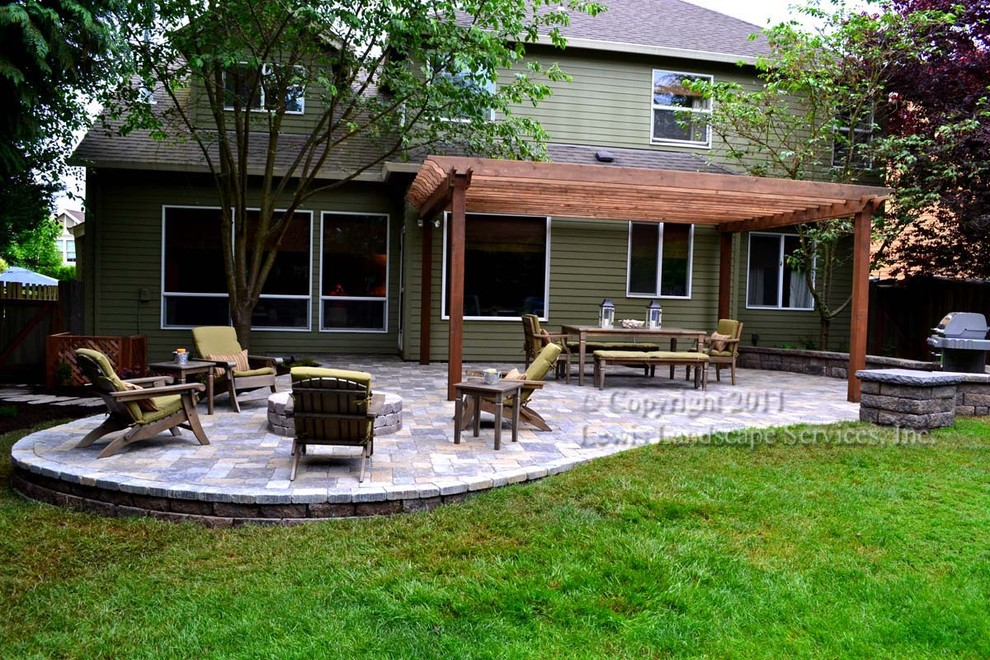 Paver Patio, Pergola, Fire Pit, Seat Wall, Lighting ... on Paver Patio Designs With Fire Pit id=82398