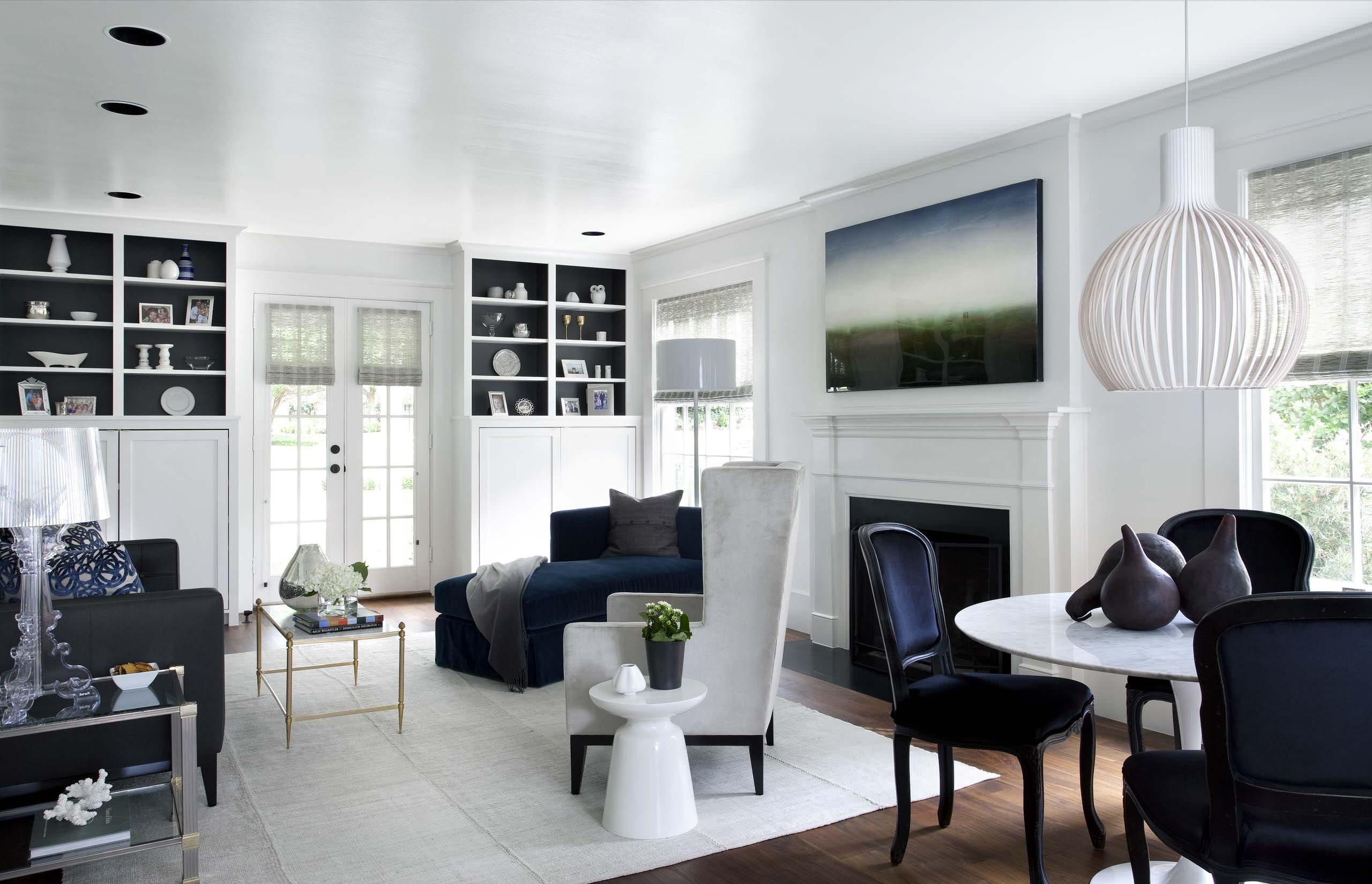 White And Navy Living Room Houzz