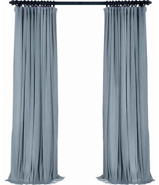 luxury velvet curtain panels gray blue willow set of 2 grommets 50 x100