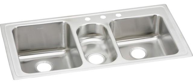 elkay lustertone stainless steel 43 x 22 x 10 triple bowl top mount sink