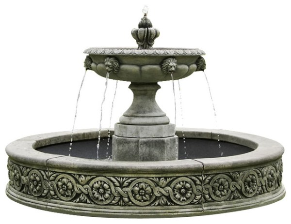 english garden fountains water features Parisienne One Tier Outdoor Water Fountain, English Moss