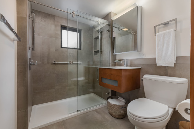 Small Modern Bathroom with Floating Vanity and Alcove Shower modern-bathroom