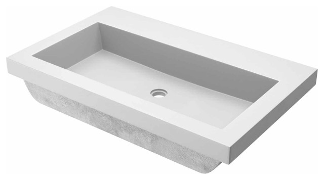 trough 3019 concrete bathroom sink pearl no faucet hole
