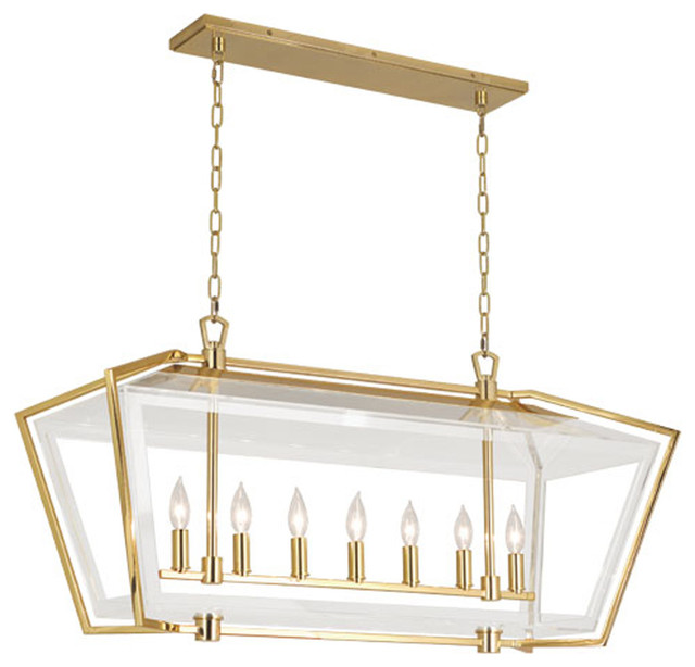 Robert Abbey Casper 7 Bulbs Antique Brass Chandelier Midcentury Chandeliers