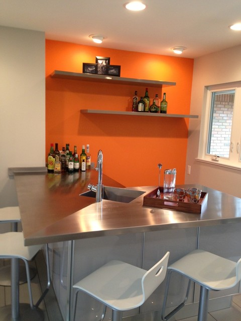 Sherwin Williams Orange Paint Color Carnival SW 6892 Contemporary Kitchen Cleveland