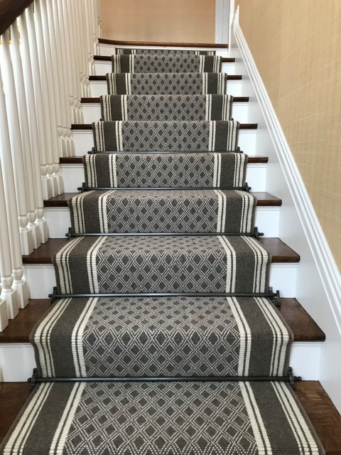 Custom Stair Runner With Applied Border And Decorative Stair Rods | Decorative Carpet For Stairs | Rectangular Cord Treads | Gingham | Brown | Animal Print | Stair Runner Matching Landing