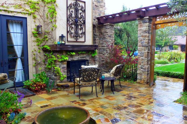 Mediterranean Courtyard Fireplace