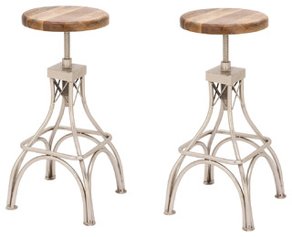 Urban Designs Classic Adjustable Height Wood Metal Bar Stool, Set of 2