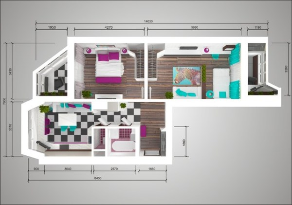 Дизайн-проект двухкомнатной квартиры п44т «распашонка ...