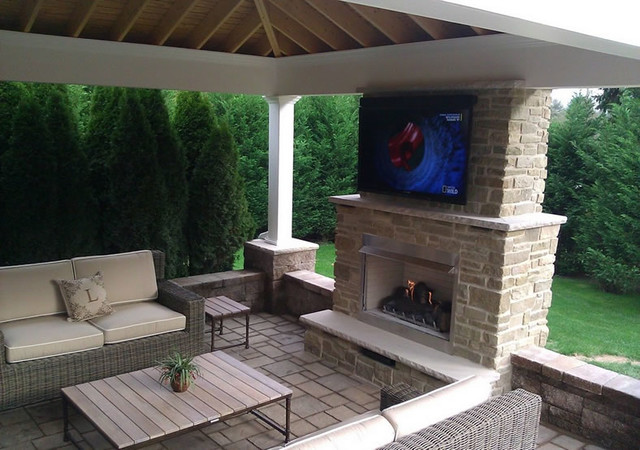 Outdoor Gas Fireplace With Television by Fine's Gas ... on Outdoor Gas Fireplace For Deck id=17449
