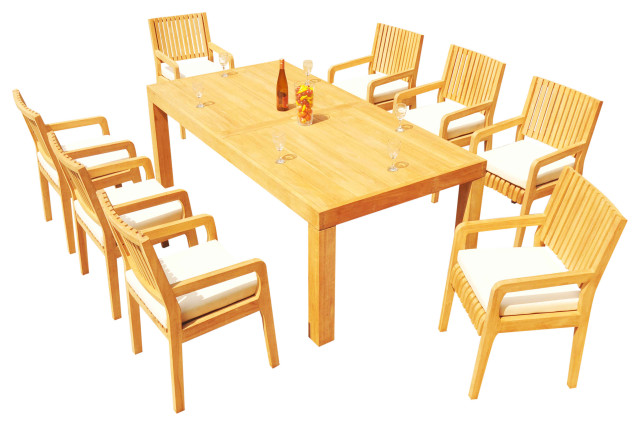 9 piece outdoor teak patio dining set 86 rectangle table 8 maldives arm chair