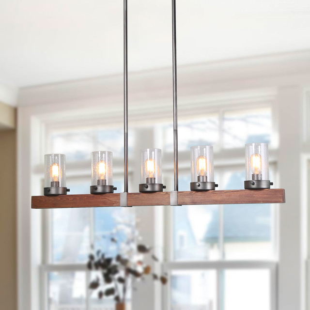 laluz 5 light linear chandeliers wood kitchen island lighting