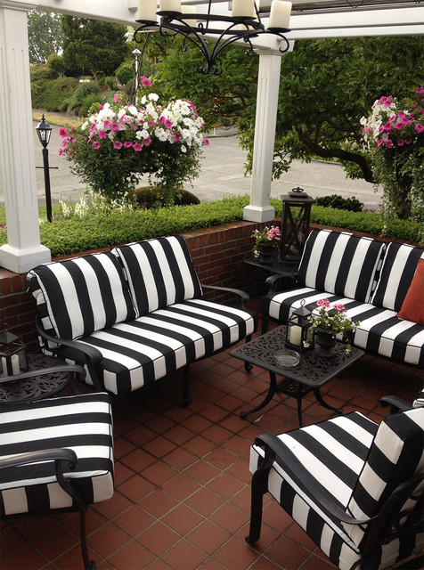 Black and White Striped Outdoor Furniture Cushions ... on Black And White Backyard Decor  id=14010