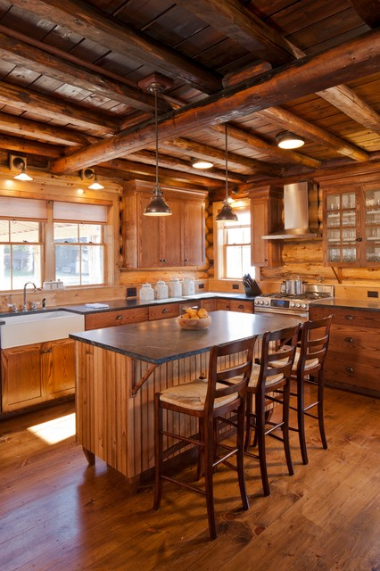 Private Lake Getaway rustic-kitchen